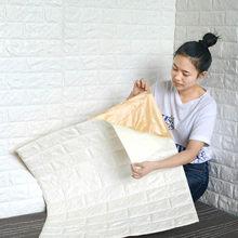 Auto-adesivo papel de parede 3d estéreo adesivos de parede quarto quente pacote macio espuma papel de parede adesivos decorativos
