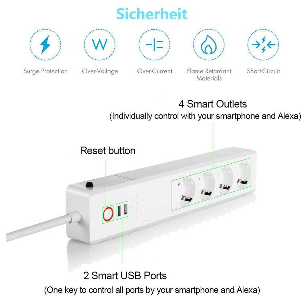 Inteligentna listwa zasilająca ue/wielkiej brytanii, useeLink zasilania WiFi Bar wielu wylot przedłużacz z 2 USB i 4 AC podłącza się przez Tuya