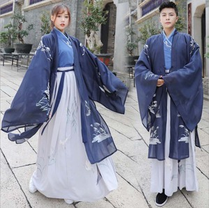 Men/Women Hanfu Chinese Ancient Traditional Blue Outfit Fantasia Couples Cosplay Costume Fancy Dress For Men Women Plus Size 5XL(China)