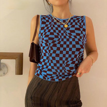 Summer Checked Crop Top Women Sleeveless Knitted Vest Plaid Y2K Tank Top Streetwear Aesthetic Cute Shirts Short Cropped Fashion