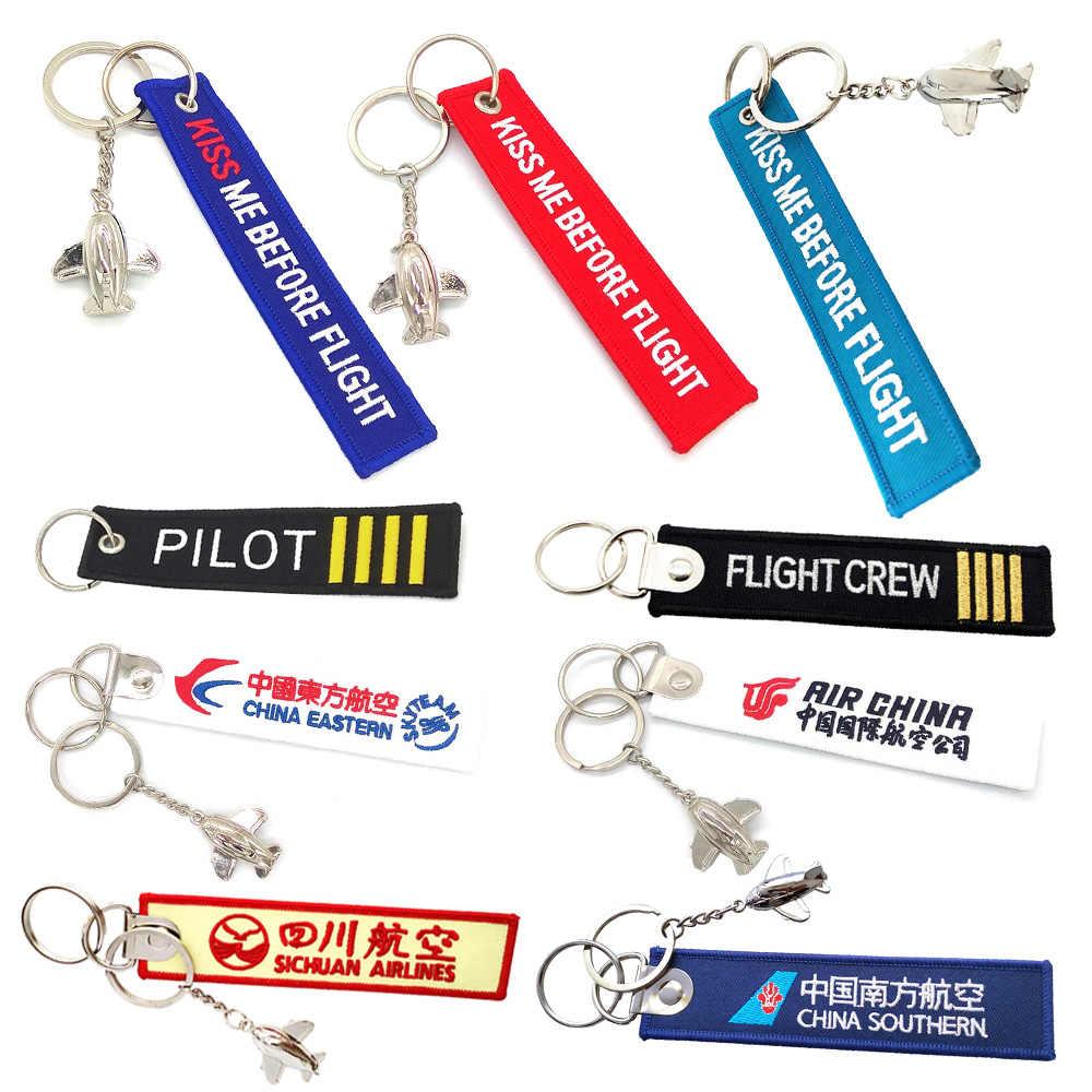 Chaveiro aviador, chaveiro beijado me antes de vôo, piloto de tripulação, mini avião de metal, decoração, saco, pingente, joias masculinas