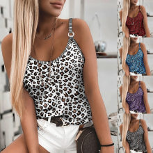 Summer Women's Clothing 2021 Casual Retro Leopard Print Sexy Fashion All-Match Stretch U-Neck Slim Camisole Sleeveless Tank Top