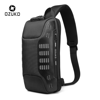 OZUKO New Men Anti Theft Chest Bag Multifunction Chest Pack Male Waterproof Sling Messenger Bags USB Charging Mens Crossbody Bag