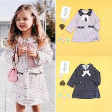 Милое Модное детское платье для маленьких девочек От 1 до 6 лет платье на молнии с клетчатым принтом и бантом вечерние осенняя одежда комплект верхней одежды