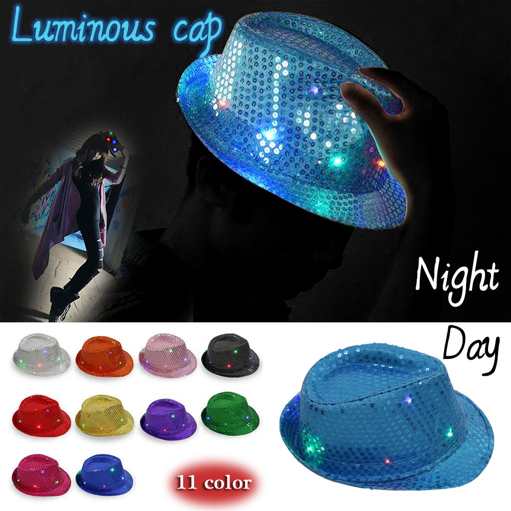 Flashing-Hat Chapeau Party-Hats Light-Up Sequin Fancy Femme Stage-Cap Dance Trending title=