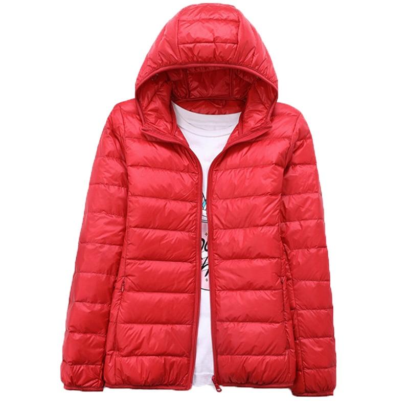 Winter Women Down   Jacket   Ultra Thin Hooded Duck Down Coat Red Black   Basic     Jackets   Long Sleeve Warm Parka Female Autumn Outwear