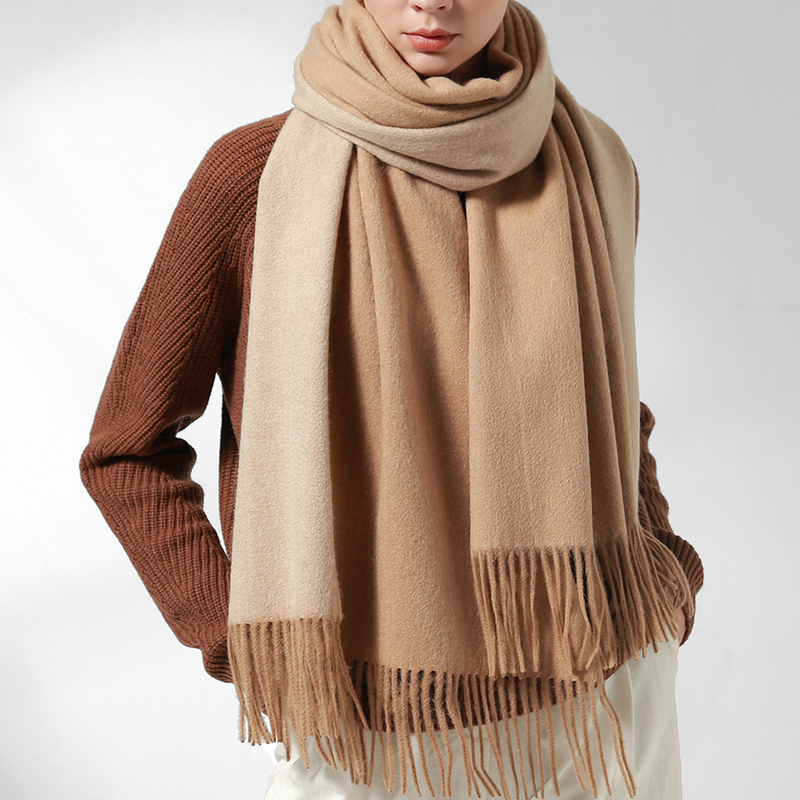 100% Wool Scarf For Women Two-Colors Sheep Wool Shawls Tassels Thick Warm 2019 Winter Autumn Woman Large Camel Woolen Scarf
