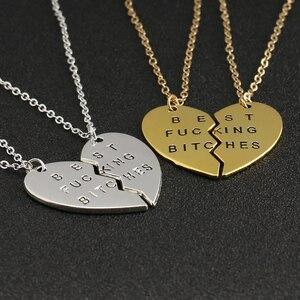 ЛУЧШИЕ СУКИ ожерелье 2 части разбитое сердце любовь Золотой Серебряный цвет кулон лучшие друзья Продажа Мода Дружба Ювелирные изделия оптом