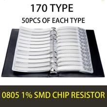 0805 2012 1% 0r ohm hm 10m yageo smd resistor amostra livro tolerância 170valuesx50pces = 8500 pces