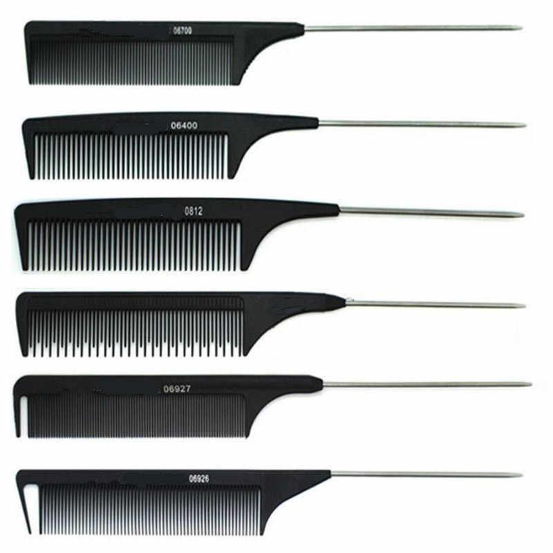 1Pc Profesional Baru Hitam Karbon Keras Cutting Sisir Tahan Panas Salon Pemangkas Rambut Sikat Pin Logam Ekor Antistatik Sisir