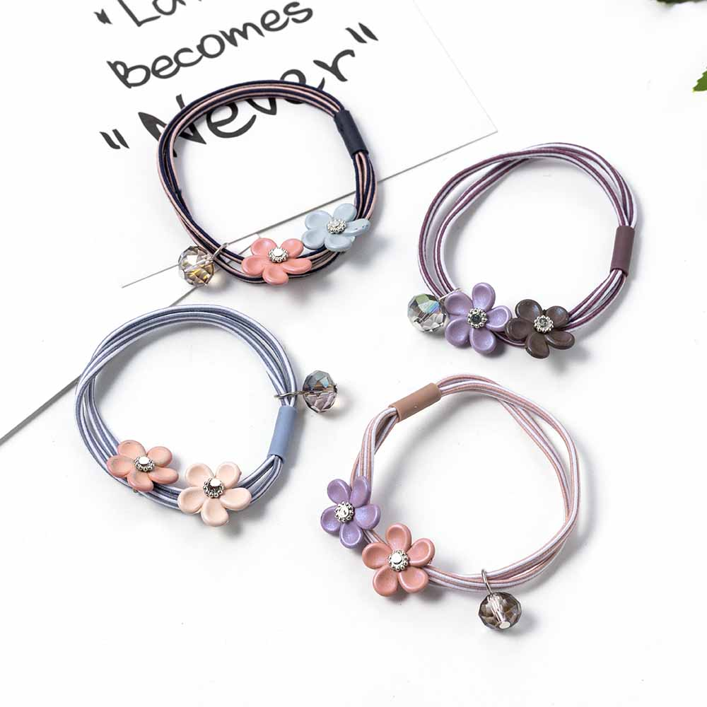 1pc Korean Cute Candy Flower Headbands for Women Pendant Elegant Lady Elastic Ponytail Scrunchies Hair Ties Accessories Random