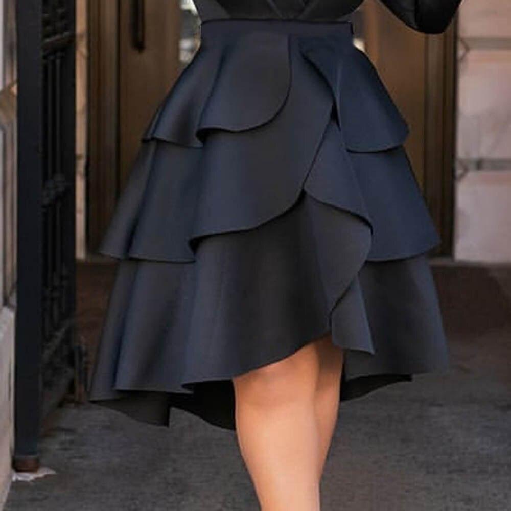 Gothic Solid Asymmetrical Ruffles High Waist Black Skirt Women Party Club Wear Plus Size Ladies Loose Designed 2020 Fashion