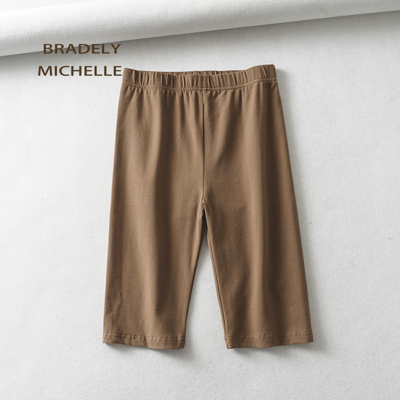 BRADELY MICHELLE sexy women cotton high waist elastic pure color slim Knee-Length bikeshorts leggings female 2