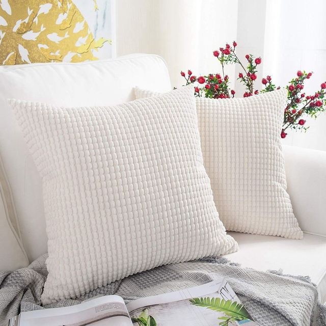 Pack of 2, Corduroy Soft Solid Christmas Decorative Square Throw Pillow Covers Set Cushion Case for Sofa Bedroom Car 18 X 18 Inc