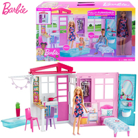 Original Barbie Doll Accessories Shining holiday Home dream luxury house kids family furniture toy for girls birthday gift box