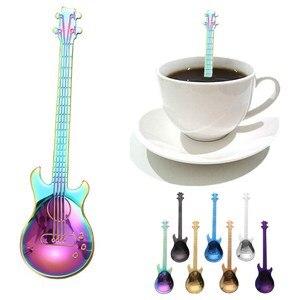 Cucharas de café para guitarra de 7 Uds., cucharilla de café y leche creativa de acero inoxidable chapada en oro, cucharilla para beber helado, Mini vajilla