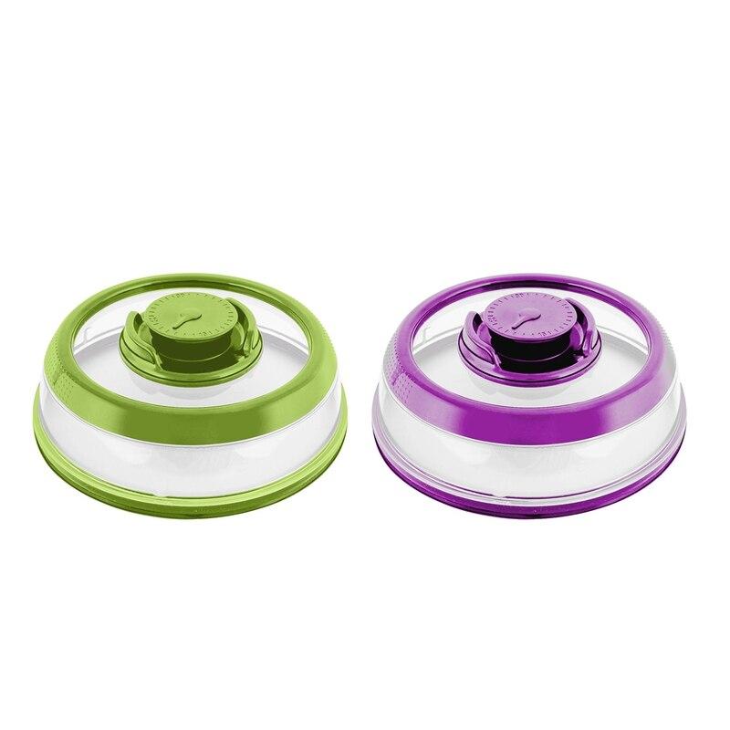 2Pcs Vacuum Food Sealing Machine Mini Cover Kitchen Instant Vacuum Food Sealing Machine Fresh Vegetable Preservation - Green & P