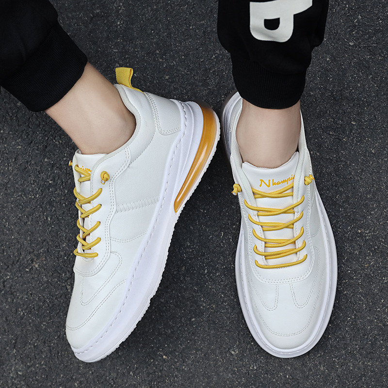 2020 Spring Newest Loafers Casual Shoes For Men Fashion Men's Sneakers Leather Air Cushion Shoes Tide Rubber Sole White Shoes 39