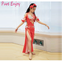 Child New Belly Dance Robe Performance Dance Dress Robe Oriental dance competition Training Dress Bra+Robe (Underpants)+scarf