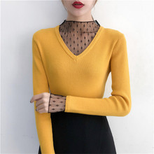 Korean Fashion Sweater Women Knitted Sweaters Autumn V-neck Lace Thick Woman Pullover Stretch Knit