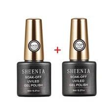 Sheenia 8ml UV Gel Nail Polish Top coat 2pcs Base and Top coat Varnishes Nail Gel Long Lasting Soak off UV Gel Nails Varnish
