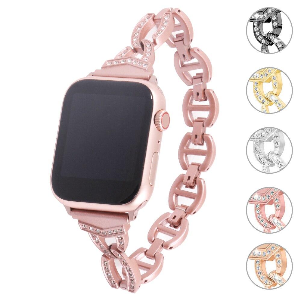 Ремешок для Apple Watch 4, 5, 3, 2, 1, 38 мм, 40 мм, женские наручные стразы, ремешок из сплава, сменный Браслет для iwatch серии 42 мм, 44 мм