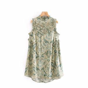 Image 2 - Винтажное шикарное женское пляжное богемное мини платье с цветочным принтом и оборками, женское платье без рукавов из искусственного хлопка в стиле бохо, платья