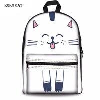 Cute 3D Animal Cat Printed Schoolbag Teenagers Girls Book Bag Ladies Daily Shopping Backpack Women Daypack Mochila Escolar Mujer