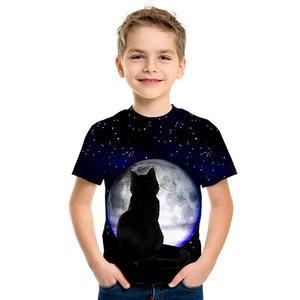 Image 3 - 3D impression mignon mode haut pour enfants à manches courtes T Shirt mignon dessin animé Panda homme/fille porter rue marée Style Top T Shirt dessin animé chat