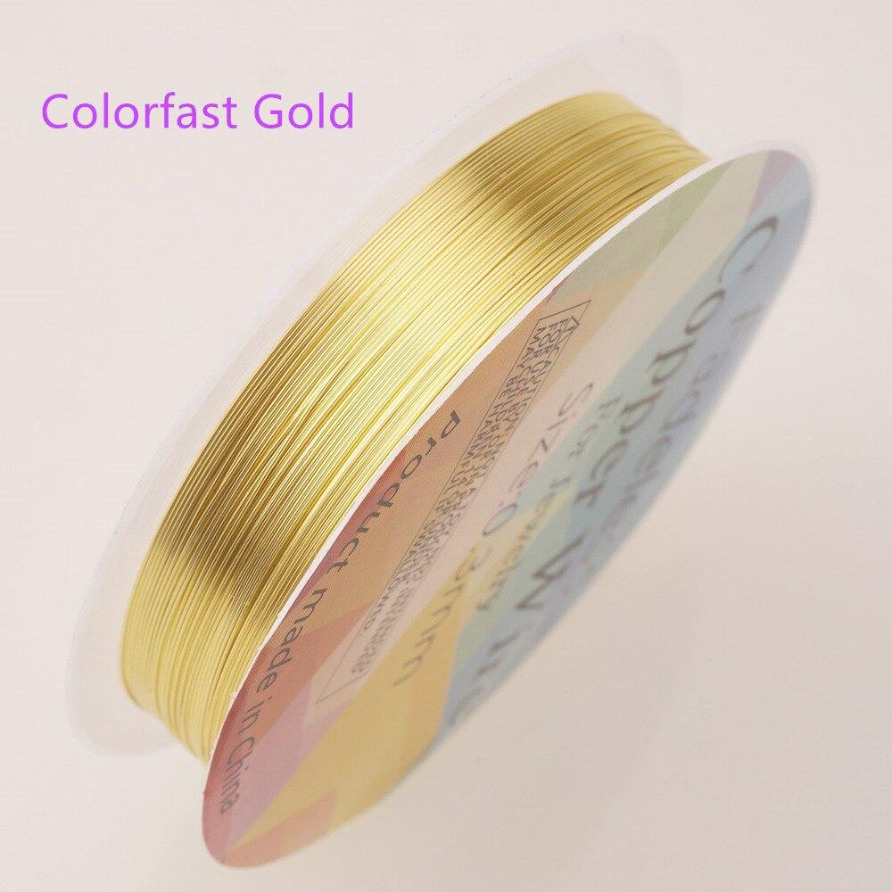 Четырехслойный разноцветный комбинезон серебро Медный провод для браслет Цепочки и ожерелья самодельные Украшения, Аксессуары 0,2/0,25/0,3/0,5/0,6/1,0 мм ремесло Бисер провода HK018 - Цвет: Colorfast gold wire