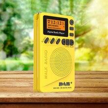 Mini rádio portátil p9 com bolso, rádio fm com tela lcd, bateria recarregável, dab + rádio digital, ue p9 dab, 2020 + alto falante alto falante