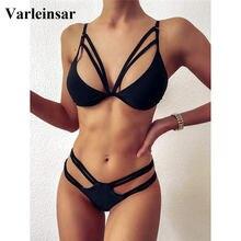 Bikini de cintura media para mujer, bañador Sexy negro, conjunto de Bikini de dos piezas, traje de baño acolchado, ropa de baño para mujer V2507