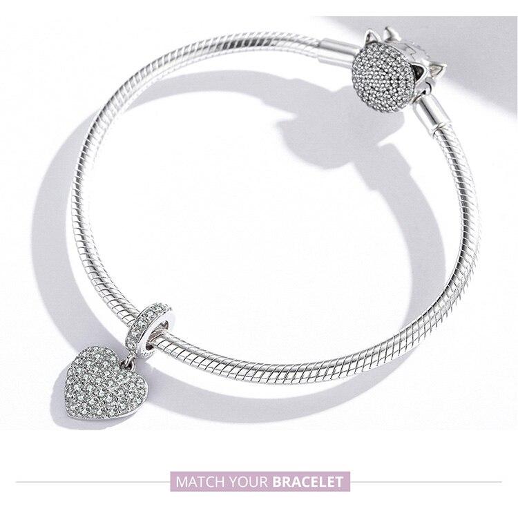 heart  925 Sterling Silver Three-dimensional Letters LOVE Charm Flower Snowflake Love Family for Bracelet Women DIY Fine Jewelry