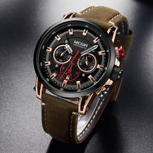 Image 1 - MEGIR relojes deportivos para hombre, de cuarzo, de cuero, militar, resistente al agua, Masculino