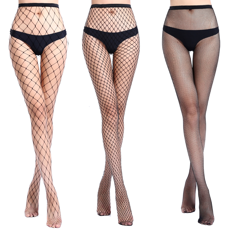 Women Sexy Slim Fishnet Pantyhose Net Holes Black Tight Thigh High Stockings Long Suspenders Hollow Out Pantyhose Stocking