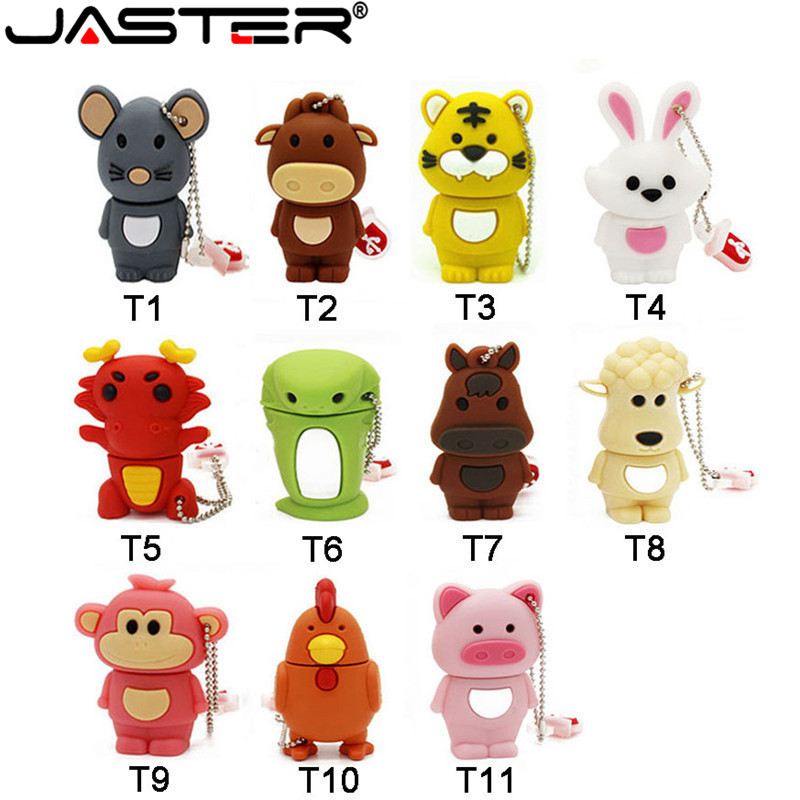 JASTER Chinese Zodiac  Flash Drive 16GB 32GB U Disk Animal Memory Stick Pendrive 8GB  Stick 4GB Pen Drive 64GB Tarjeta De Usb
