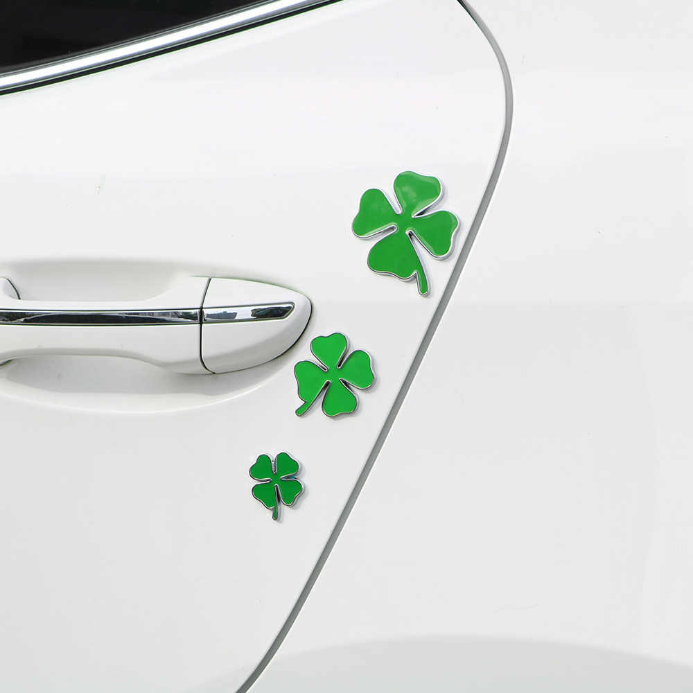 LEEPEE רכב מדבקת 1Pcs ירוק ארבעה עלה תלתן יום תג עבור אלפא רומיאו סמל מדבקת אהבת מזל סמל Chrom מתכת רכב סטיילינג