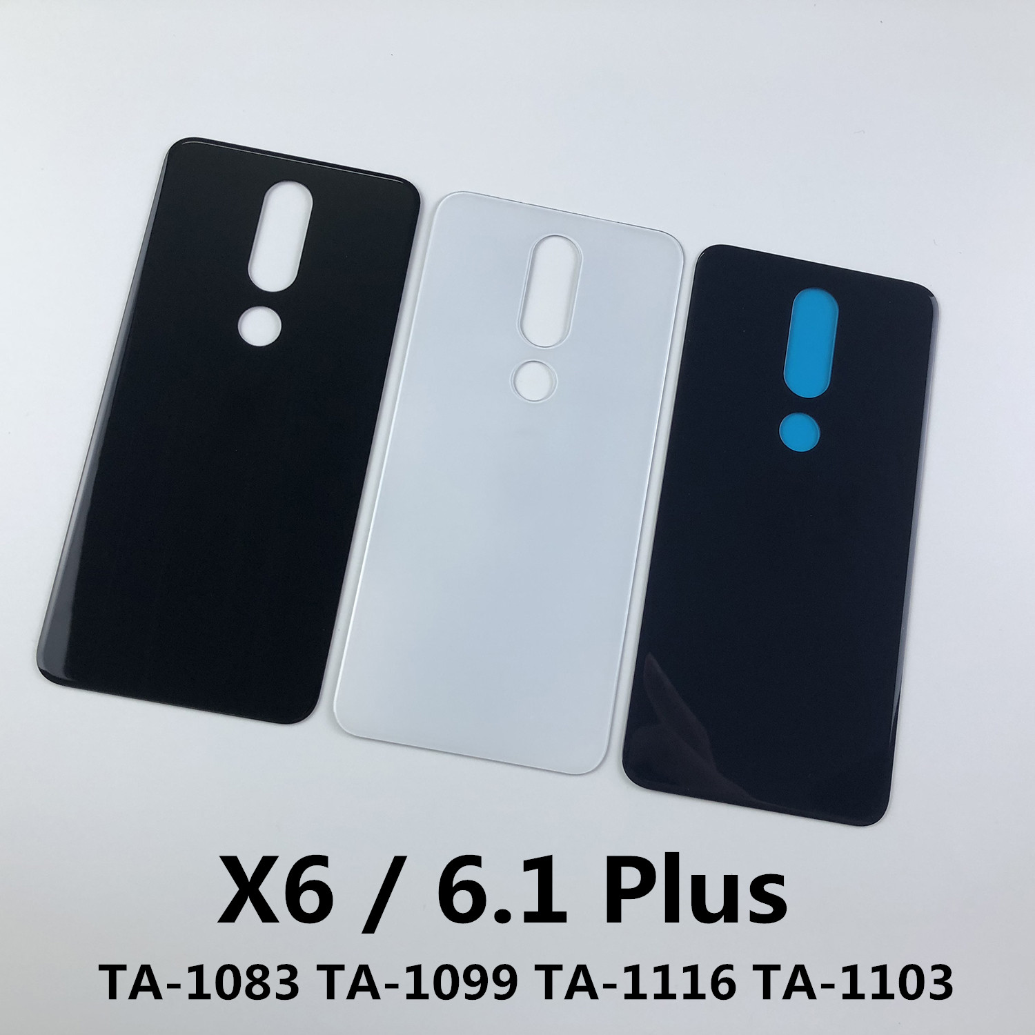 For Nokia X6 6.1 Plus TA-1083 TA-1099 TA-1116 TA-1103 Glass Housing Battery Back Cover+Sticker Glue