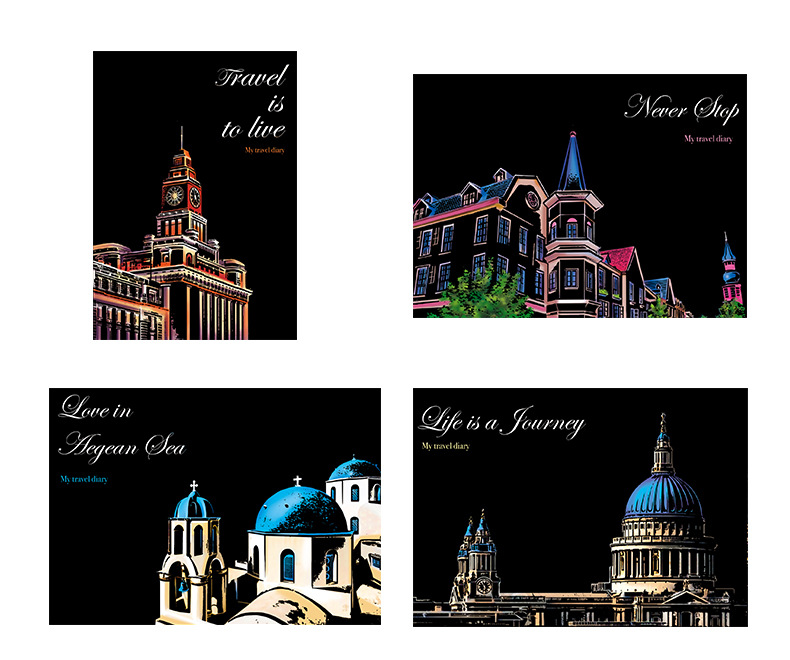 Antique Buildings Sundarling Painting Scratchboard,A4 Travel Series Night View Scratch Painting City Night View City Series Night Scene Art/&Craft for Card Handmade DIY Gifts Kids /& Adults