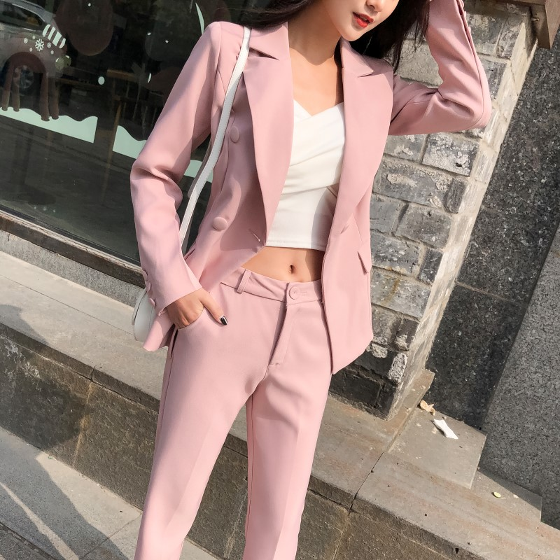 Elegant Women's Suits Pants Set 2020 New Spring And Autumn Temperament Slim Pink Blazer Feminine Casual Trousers Two-piece