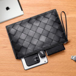 Men's Fashion Clutch Cowhide Woven Large Plaid Luxury Brand Design 100% High Quality Genuine Leather Business Paper Bag 2021 New
