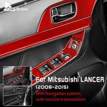 AIRSPEED Carbon Fiber Interior Trim Car Door Window Switch Panel Cover Trim Sticker for Mitsubishi Lancer 2008-2015 Accessories