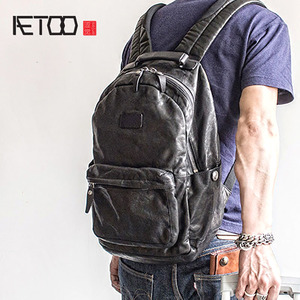 Image 1 - AETOO Fashion Street trend leather shoulder Baotou layer cowhide male backpack