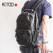 AETOO Fashion Street trend skórzany plecak na ramię Baotou męski plecak ze skóry wołowej