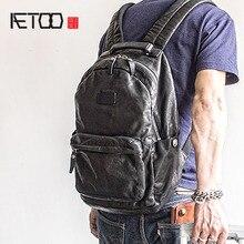 AETOO moda sokak trend deri omuz Baotou katman dana erkek sırt çantası