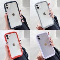 Funda transparente anticaída para iphone 12 mini 11 pro max, carcasa trasera con borde de color caramelo para iphone XR X XS MAX 8 7 Plus