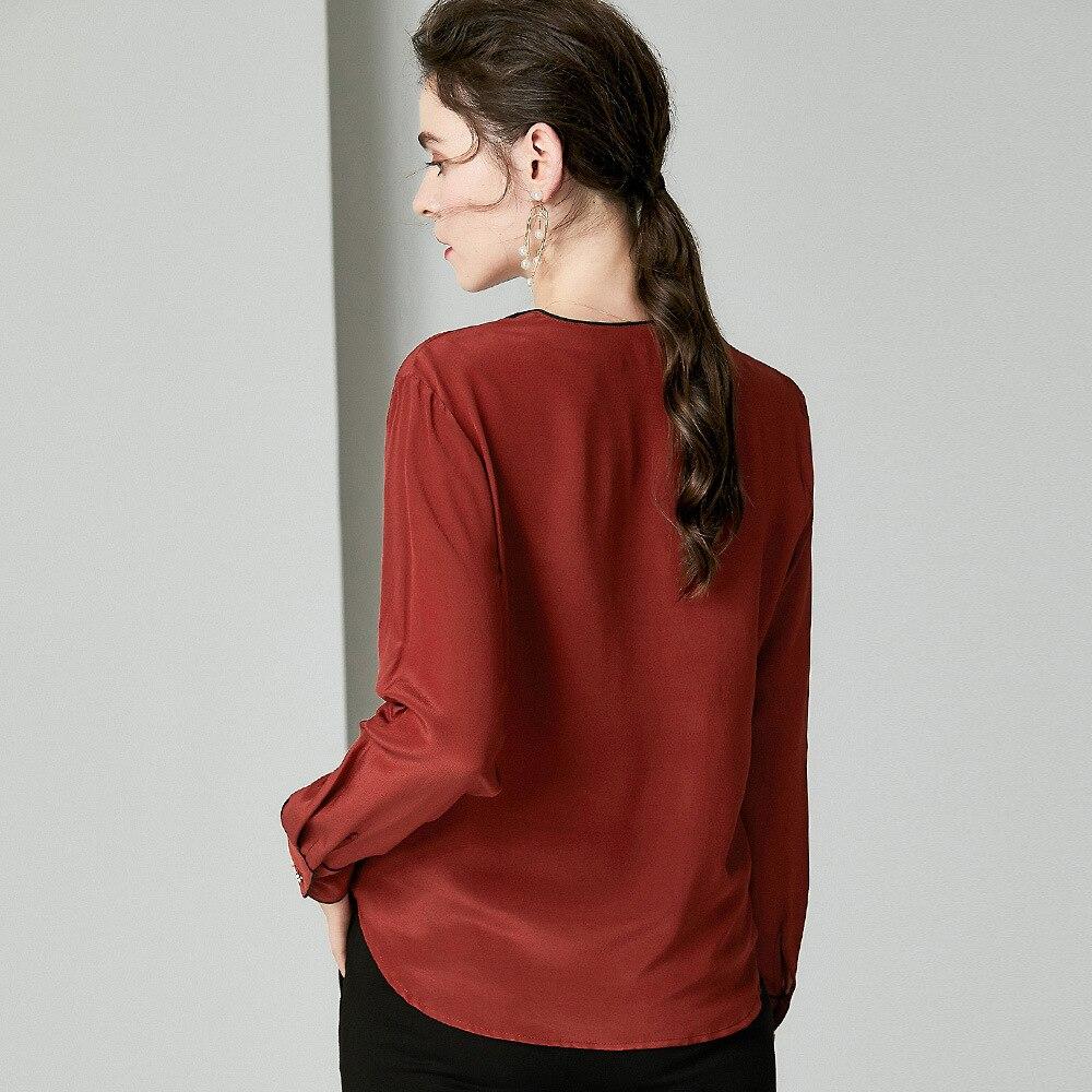 Blusas de trabajo elegantes 2019 camisas de oficina de otoño para mujer cuello en V Color bloque de retazos de manga larga Blanco marrón blusa de seda - 4