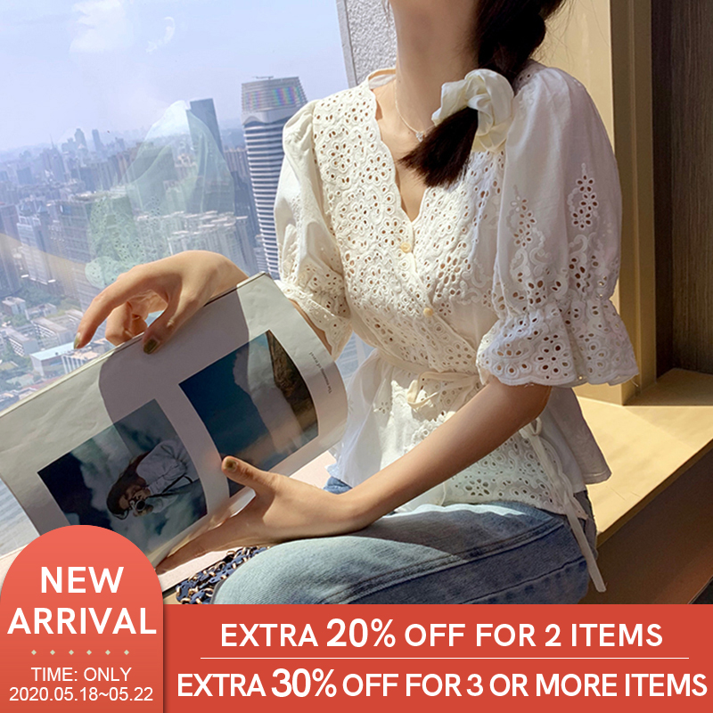 MISHOW 2020 Summer Shirts Women Spring Casual Fashion Lace Blouses V-Neck Flare Sleeve Female Tops Clothing MX20B4785