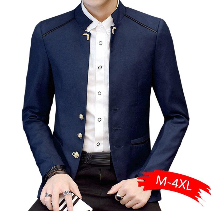 Man Casual Blazer Blazer Men Formal Work Slim Blazer New Fashion Stand Collar Full Sleeve Marry For Spring Autumn Winter
