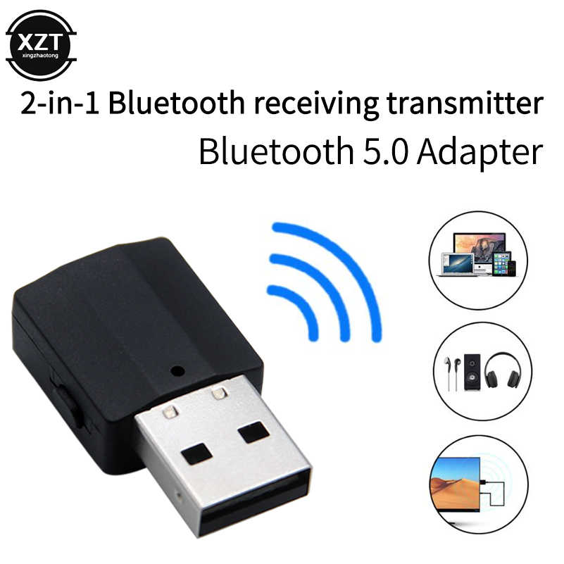 Mini 2 in1 Bluetooth 5.0 Audio-ontvanger Zender USB Draadloze Adapter Mini 3.5mm AUX Stereo Voor TV PC Auto laptop USB Dongle